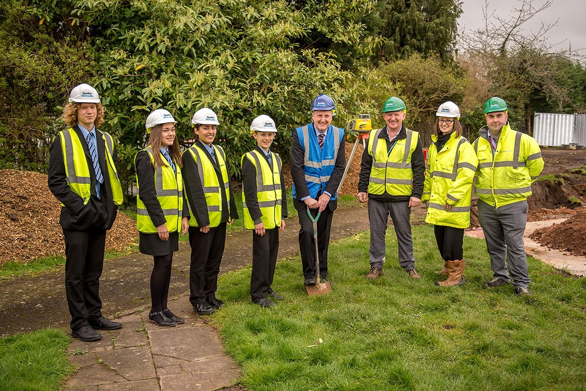 Students from Kinver High School alongside headteacher Chris Rogers, Speller Metcalfe project manager Ken Brown, quantity surveyor Charlotte Connor and general foreman Dan Mew. Photo: Speller Metcalfe