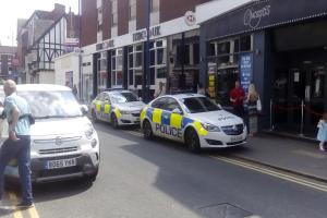 Two police cars pulled up outside Chicago's nightclub in Stourbridge High Street