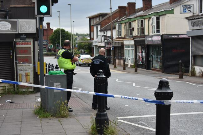 Police at the scene in Lye High Street. Pic courtesy of @snappersk.
