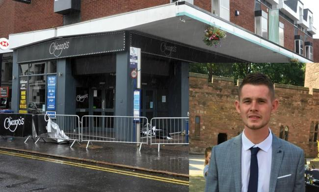 Chicago's in Stourbridge High Street - and, inset, Ryan Passey who was fatally stabbed at the venue on August 6.