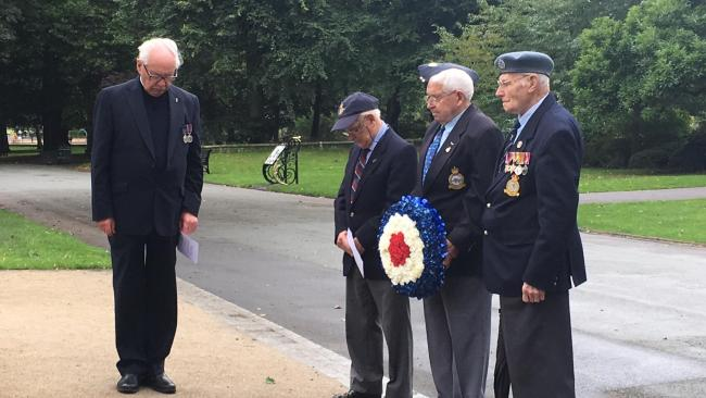 Rev Tom Chapman with former RAF men Sydney Partridge, Ray Davies and William Webb at the war memorial in Mary Stevens Park, Norton.