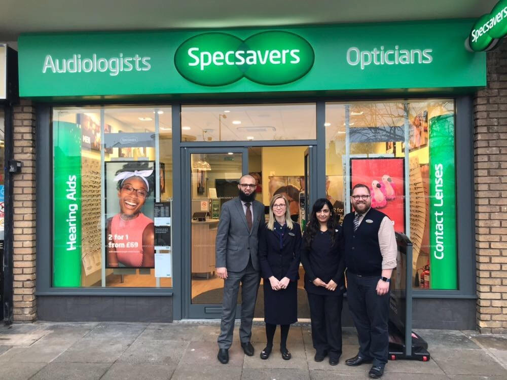 L-r - optometrist Raja Raza, optical assistants Joanna Beale and Trisha Patel and store director Jason Bridgewater.