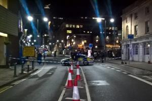 "Police cordon near Birmingham Rep theatre, following reports of an explosion in the ""staff only"" area (Westside BID/PA Images)"