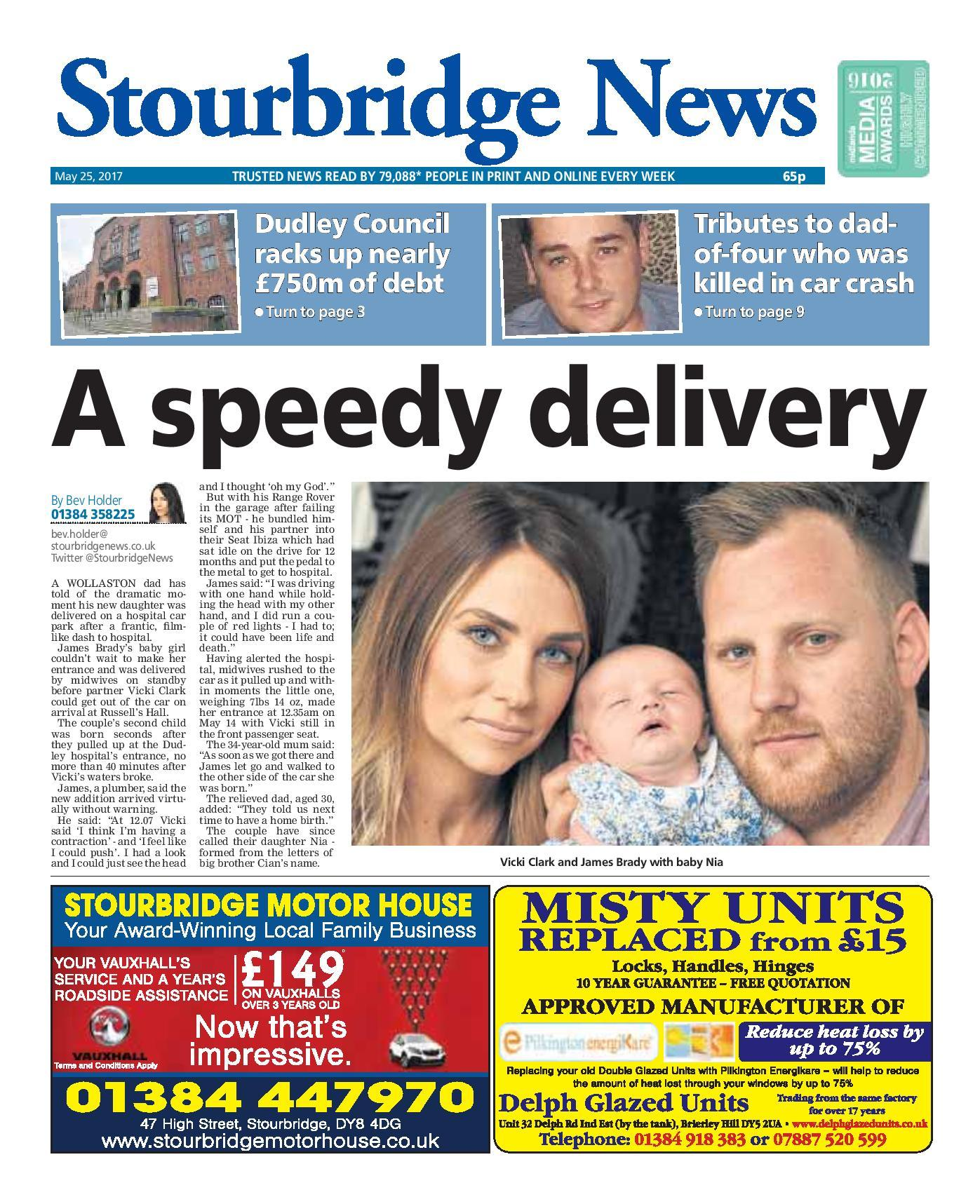 Just one of the front page stories which made the Stourbridge News one of Britain's best weekly newspapers in 2017