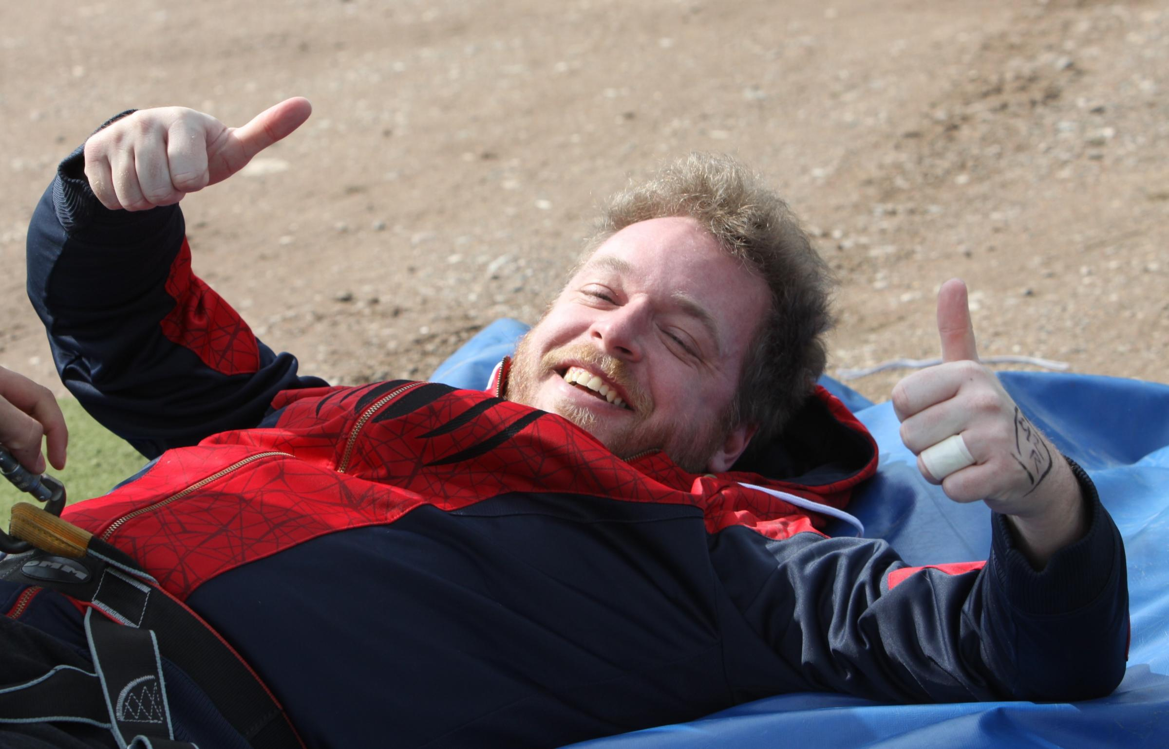 Leo Chell gives the thumbs up after his fundraising bungee jump.