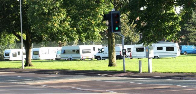 Travellers pictured in Kingswinford in 2016