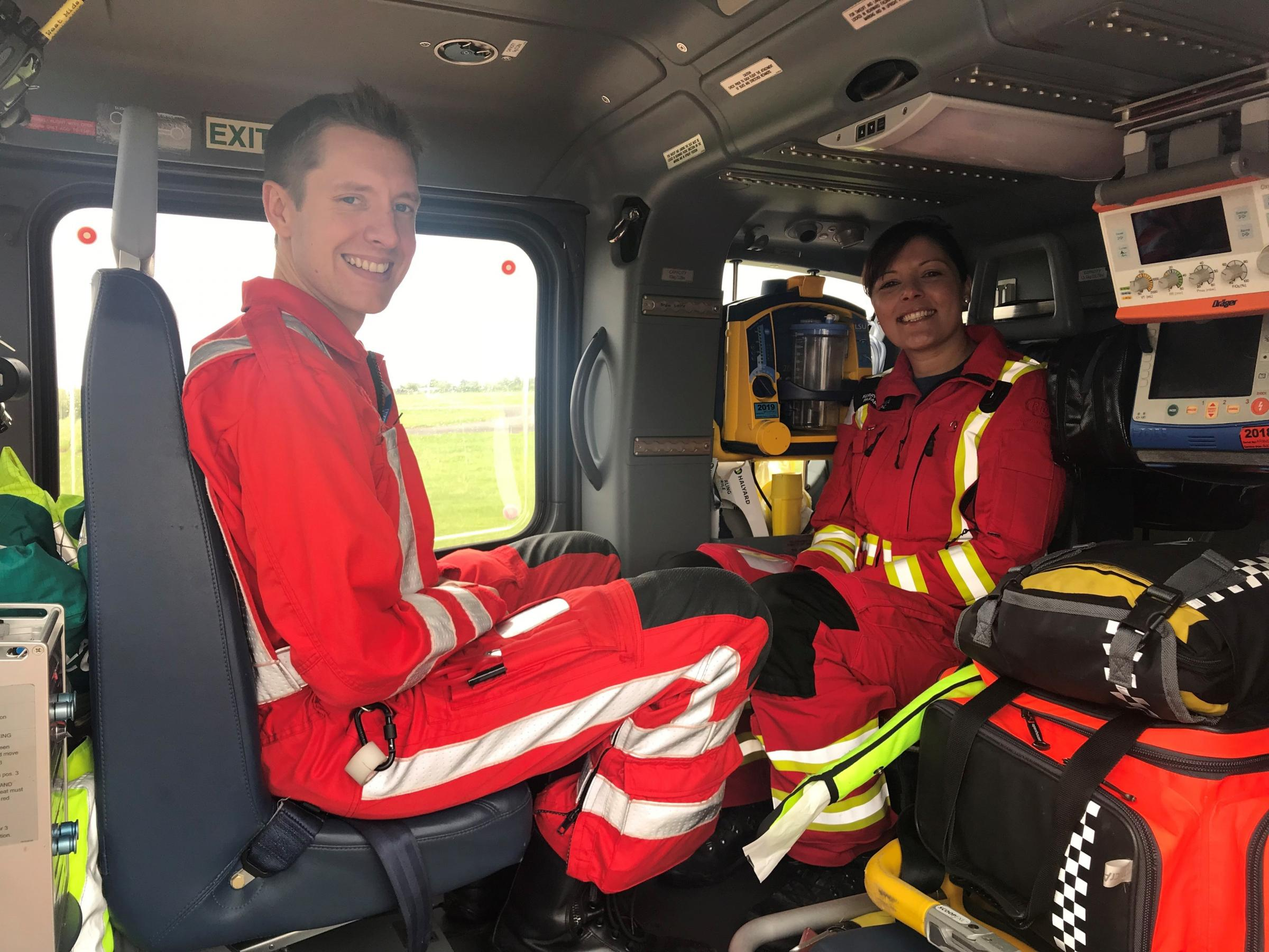 Midlands Air Ambulance paramedic Kerry Hemus and Dr Jake Turner will feature on BBC One's 'Ambulance' on Thursday. Photo: MAAC