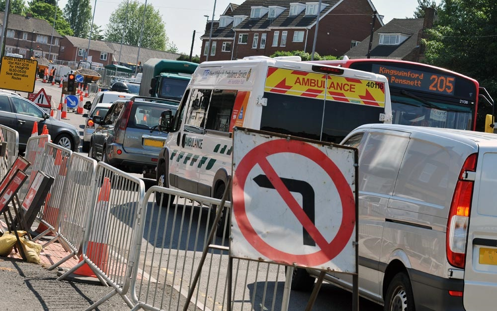 Roadworks have caused traffic chaos on Pensnett High Street over the last 12 months. Phil Loach pictured the scene this week.