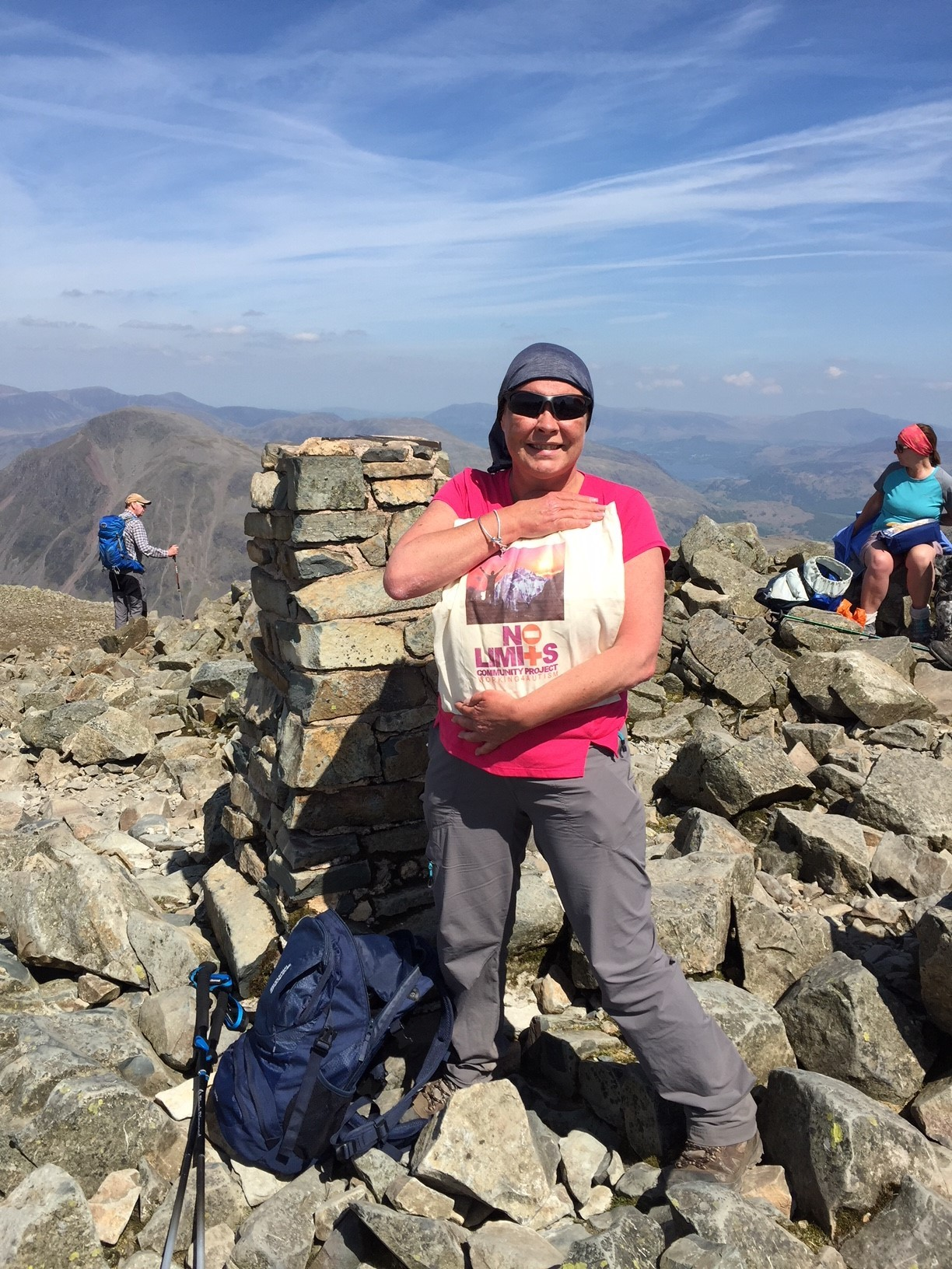 Debbie McDonnell celebrates conquering Scafell PIke.