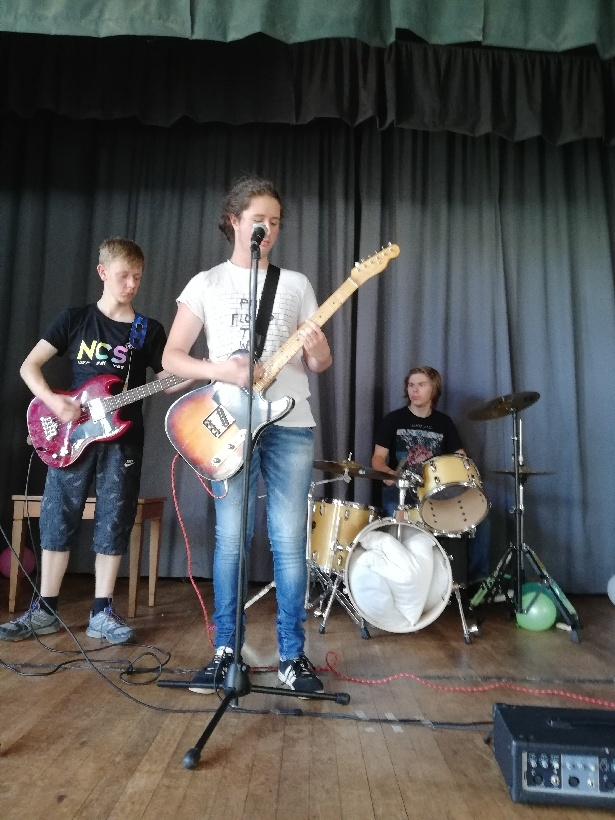 L-r - Bass player Ethan Pennington-Treanor, aged 16, front man Dylan Jones, 14, and drummer Zac Brookes, aged 15.
