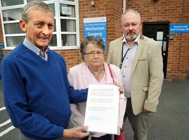 L-r - Campaigner Colin Burch with Marion Griffiths and Councillor Alan Hopwood. Pic - Phil Loach