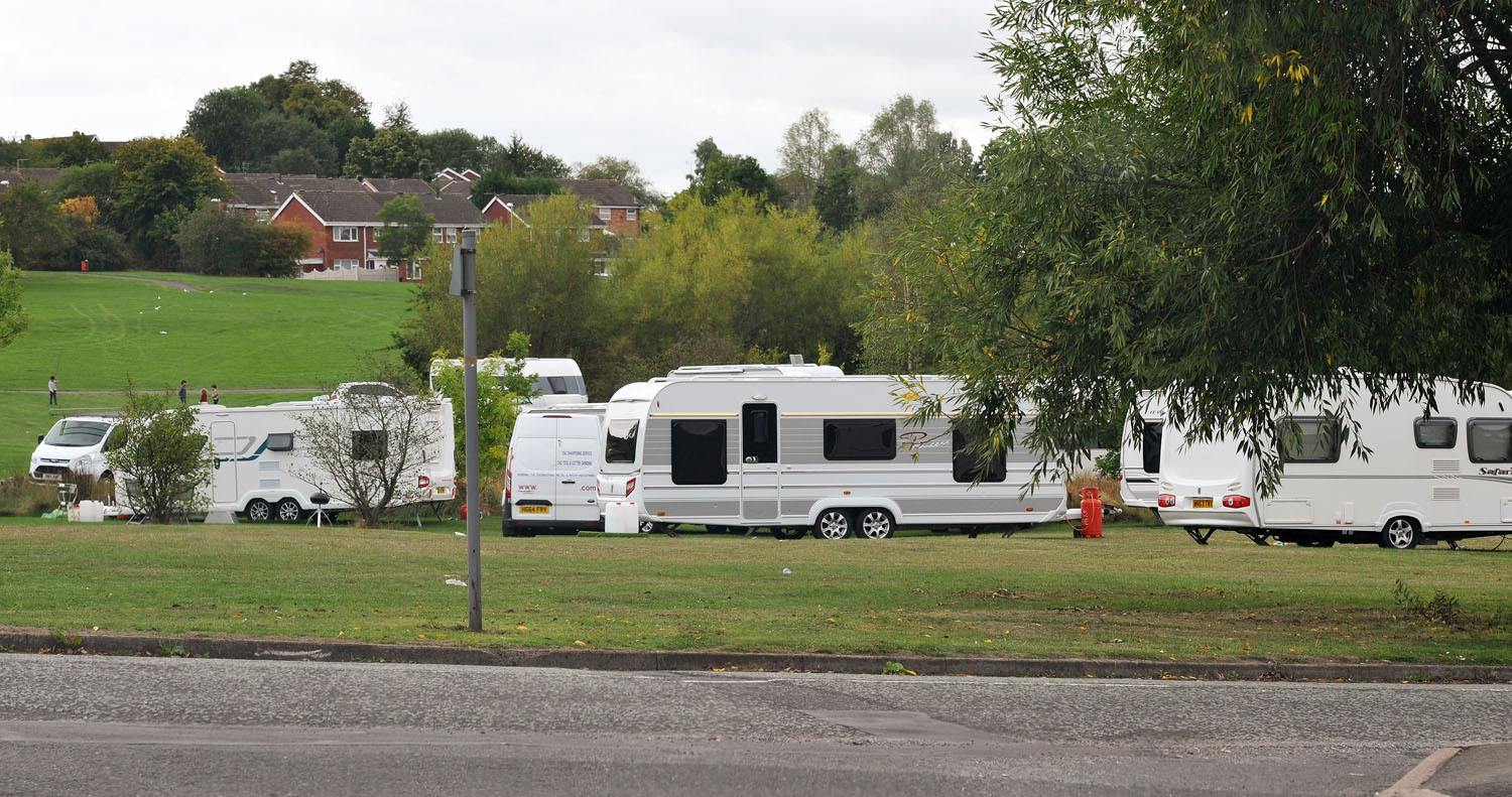 Travellers have set up camp at Withymoor opposite Sainsbury's supermarket