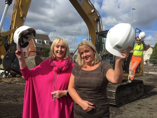 Councillor Karen Shakespeare, Julie Aldis and Mike Stokes, contractor, at the site of the new car park in Bradley Street