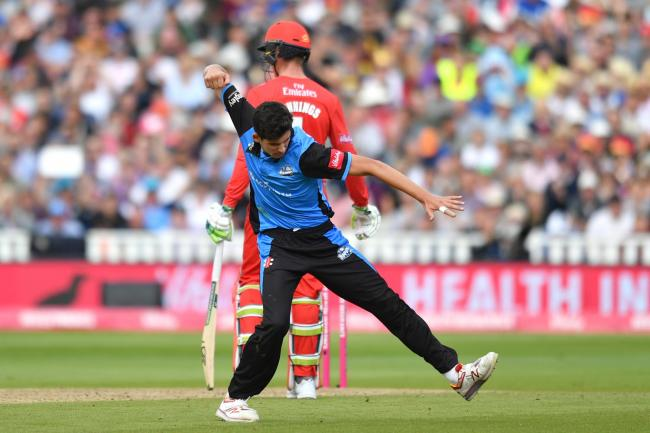Worcestershire Rapids' Pat Brown celebrates a wicket on Vitality T20 Blast finals day at Edgbaston last year. Picture: ANTHONY DEVLIN/PA ARCHIVE/PA IMAGES