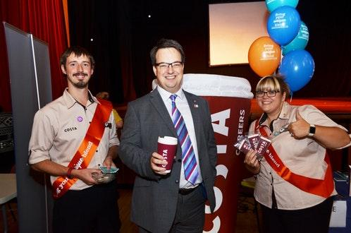 Mike Wood MP pictured centre with Costa Coffee representatives at his Jobs and Careers Fair in September.