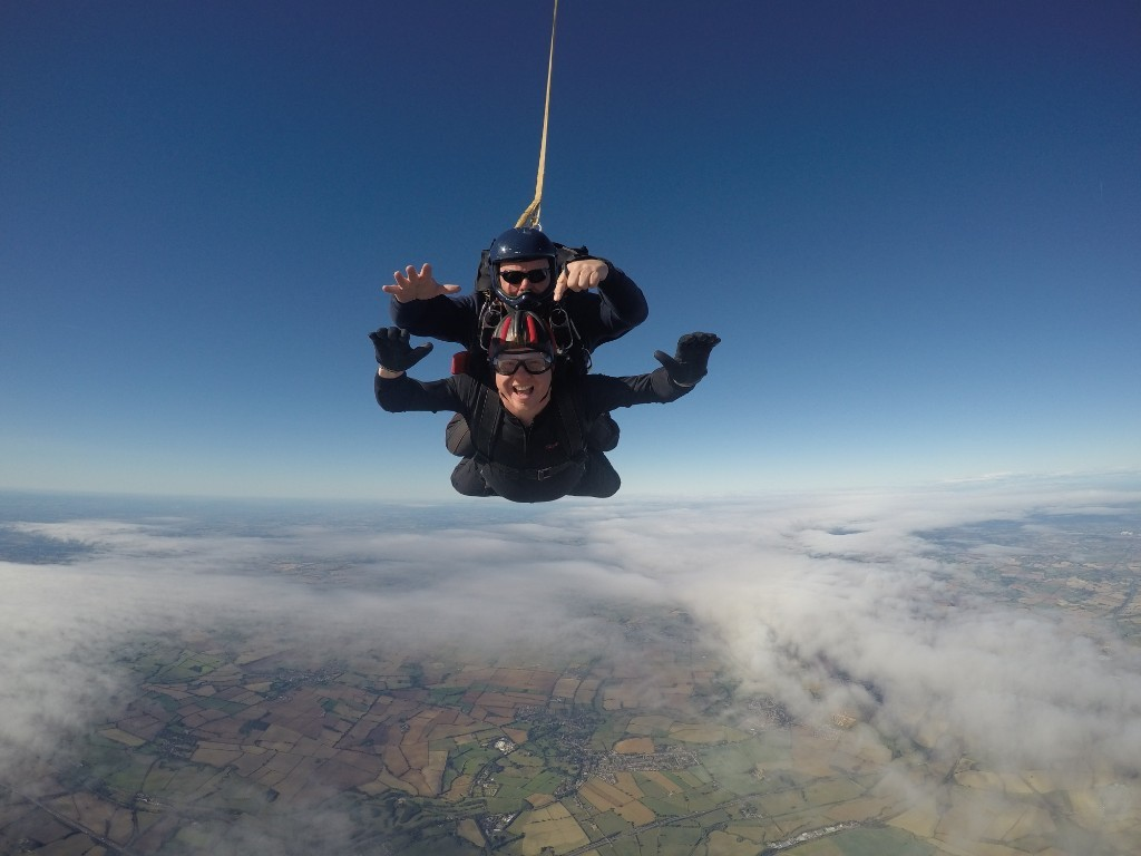 Dan Mills jumped out of a plane to raise money for Mary Stevens Hospice