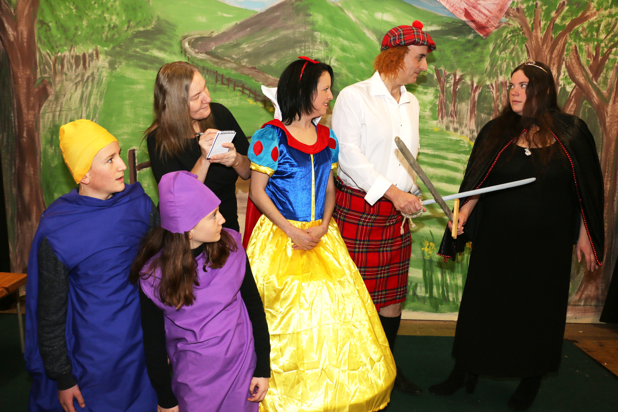 L-r - Ben Jackson, aged 13, Olivia Jackson, aged 11, Vi Wood as the reporter, Shelley Plant as Snow White, Mike Brownhill as the Huntsman and Laura Liptrot as the Evil Queen.