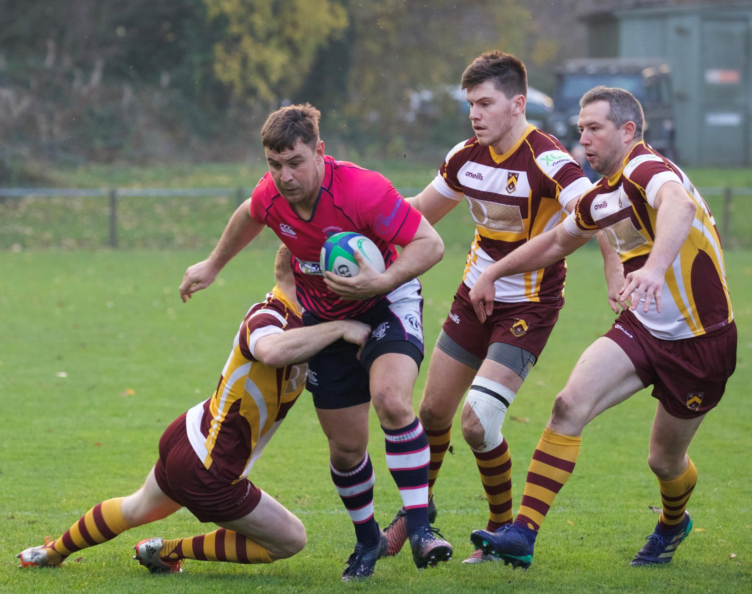 George Morgan carries for Stour. Photo by Andy Cook.
