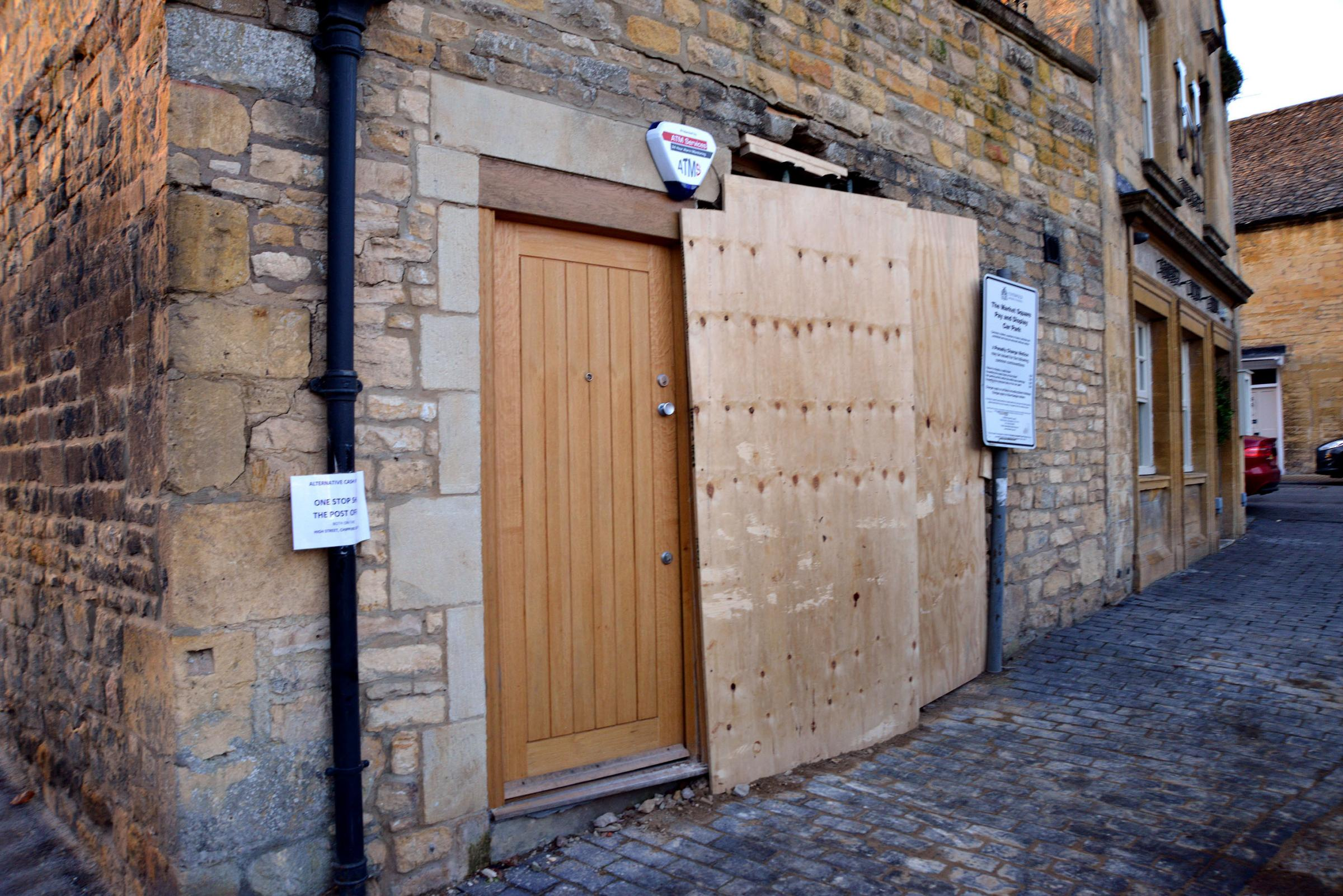 BOARD: The ATM machine stolen from Chipping Camden High Street, no arrests have been made yet