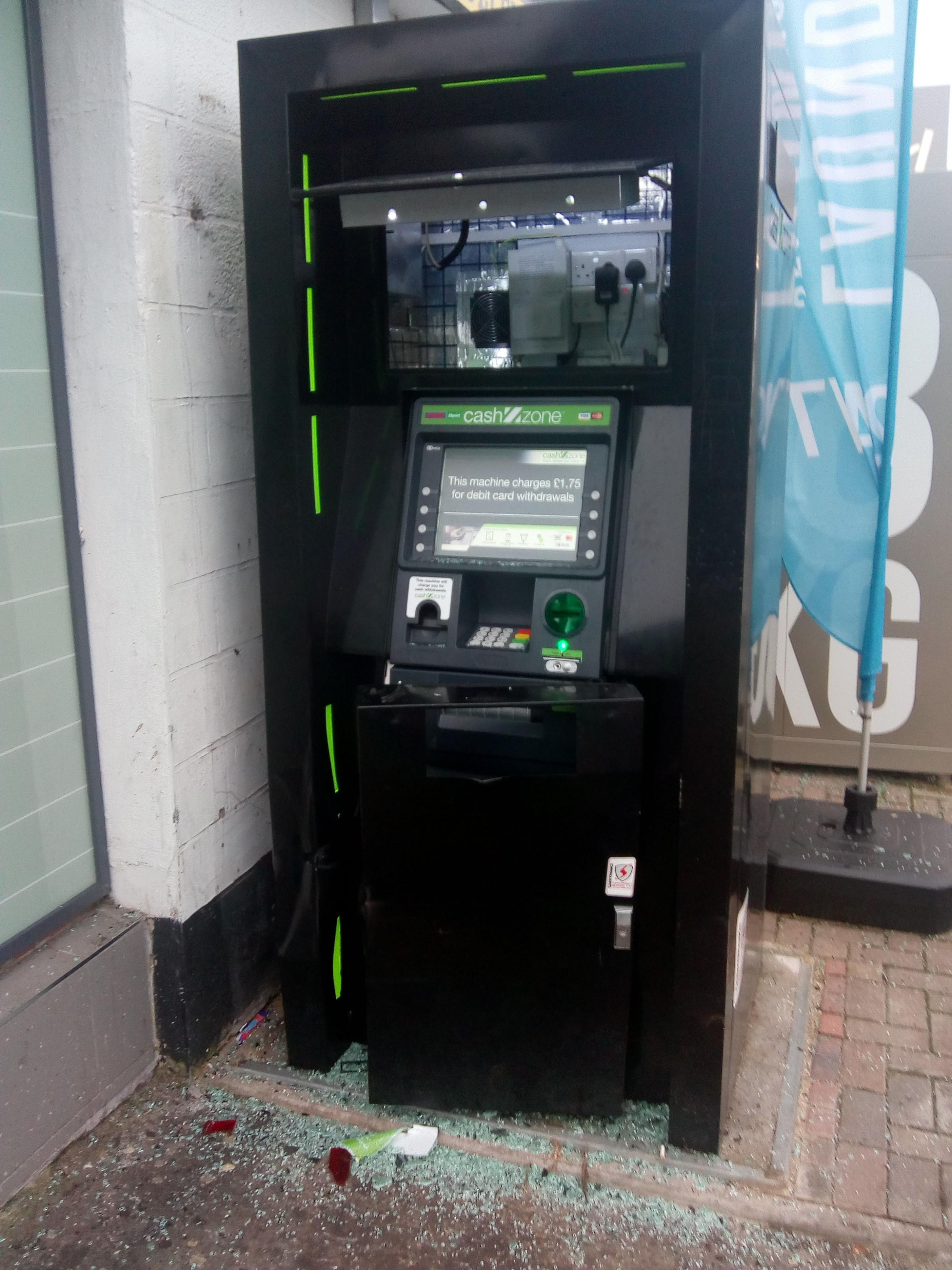 The cash machine after it was attacked for a second time