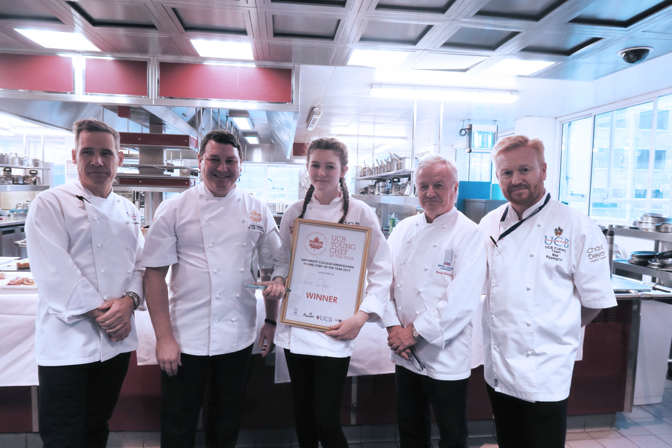 L-r - Gary Goldsmith, chef lecturer at UCB, with winner Neve Doy and judges - David Colcombe, former president of the British Culinary Federation Peter Griffiths and Neil Rippington