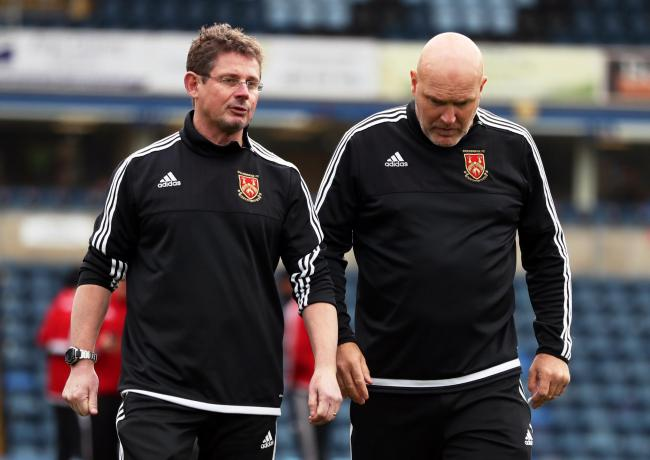 Stourbridge manager Gary Hackett (left) with assistant Jon Ford.