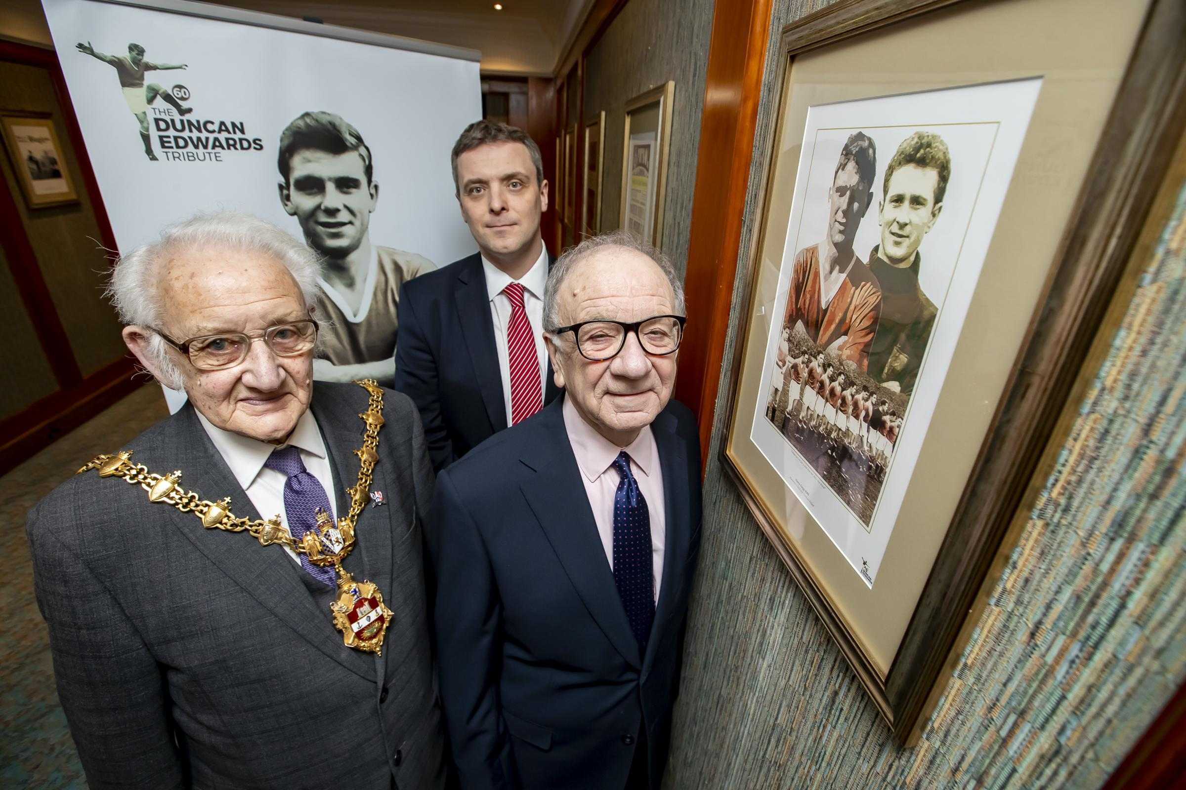 The Duncan Edwards tribute room has opened at Copthorne Hotel Merry Hill Dudley.  Pictured L/R Jim Cadman and David Barratt. Photo: Jonathan Hipkiss