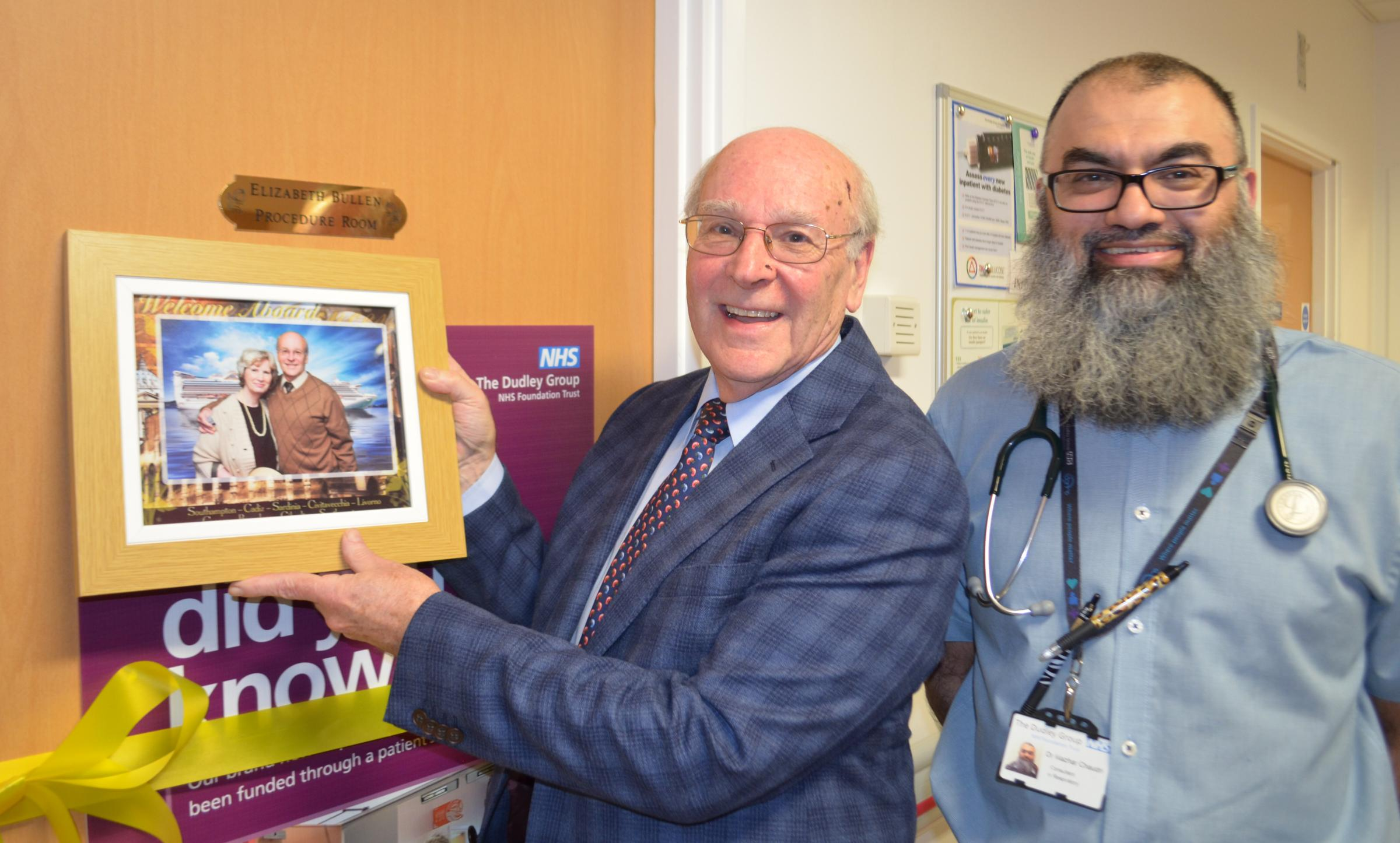 Michael Bullen with a photo of his late wife Liz and Dr Mazhar Chaudri