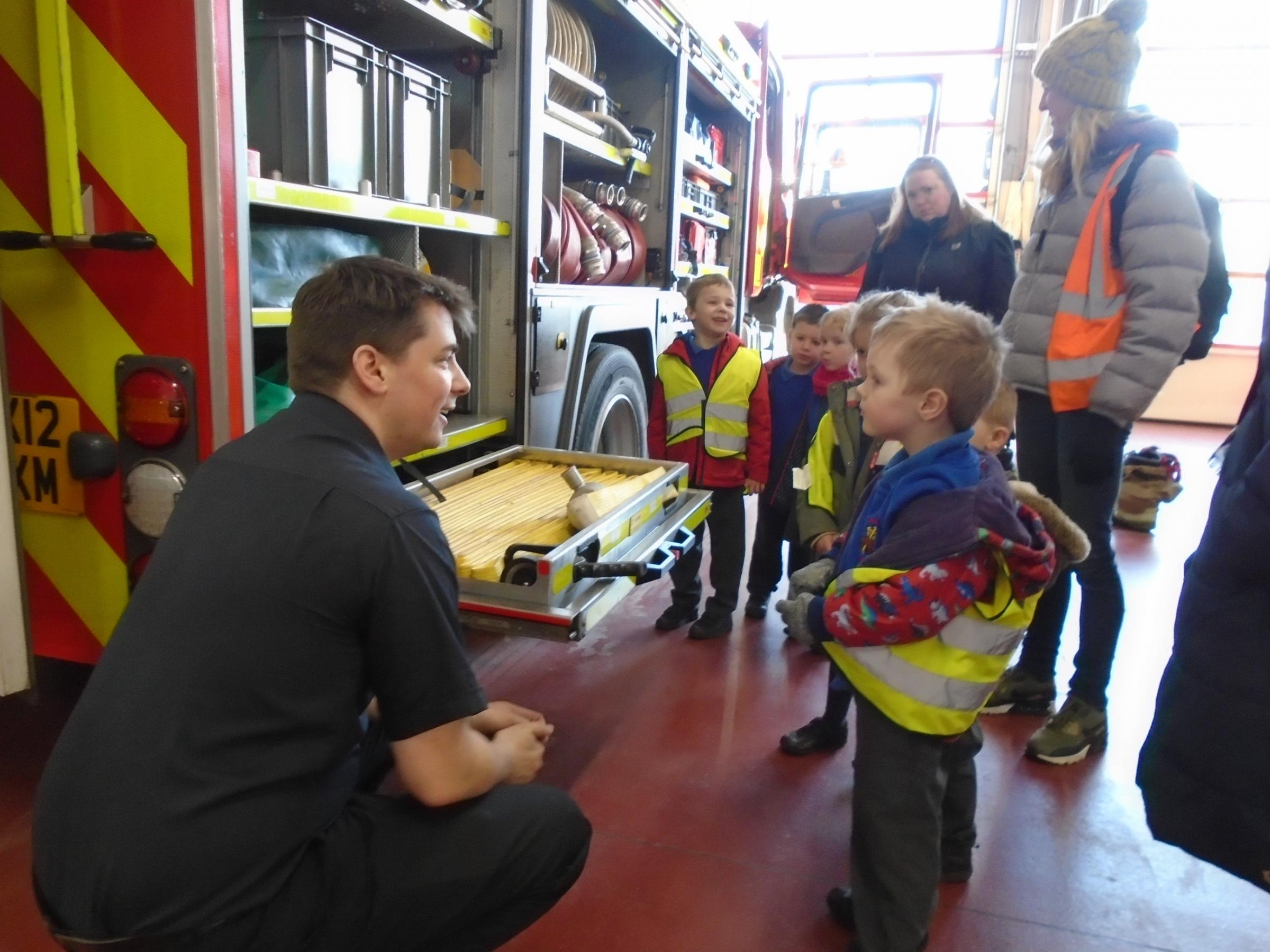 STATION: Eckington CE First School pupils trip to Evesham Fire Station