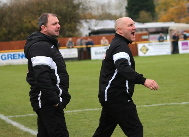 Alvechurch boss Ian Long, right