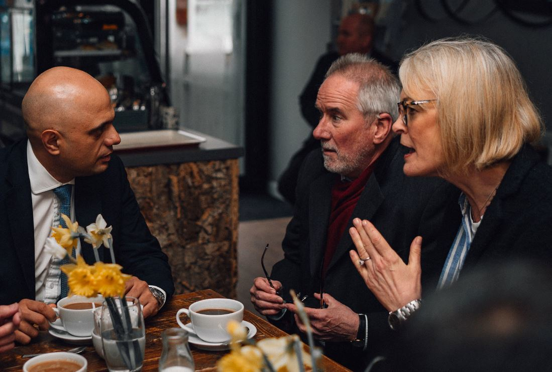 Home Secretary Sajid Javid MP with Margot James MP at Grey's in Stourbridge discussing violent crime in the area. Pic by George Oliver