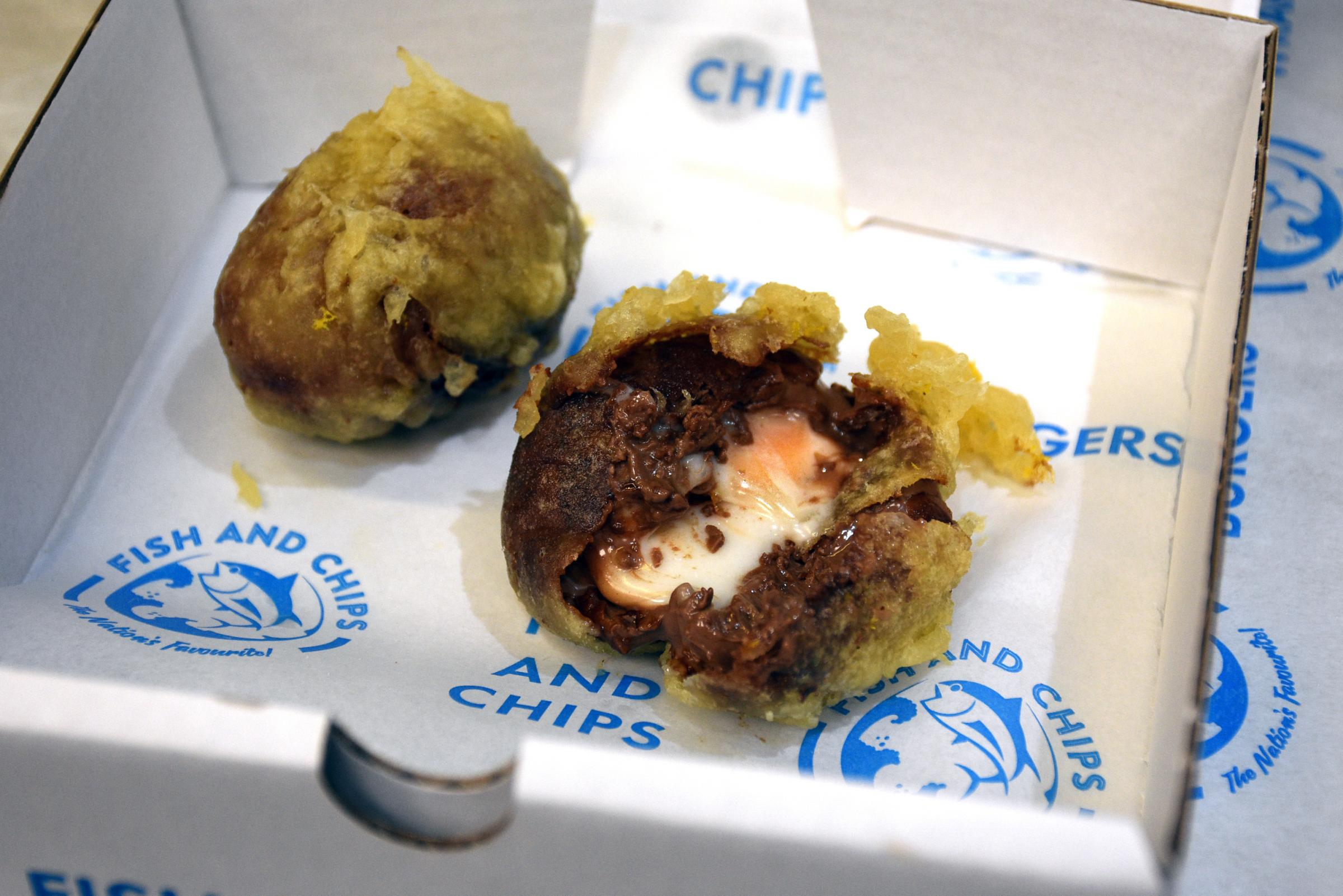 The battered Creme Eggs being served up by Norton Fisheries