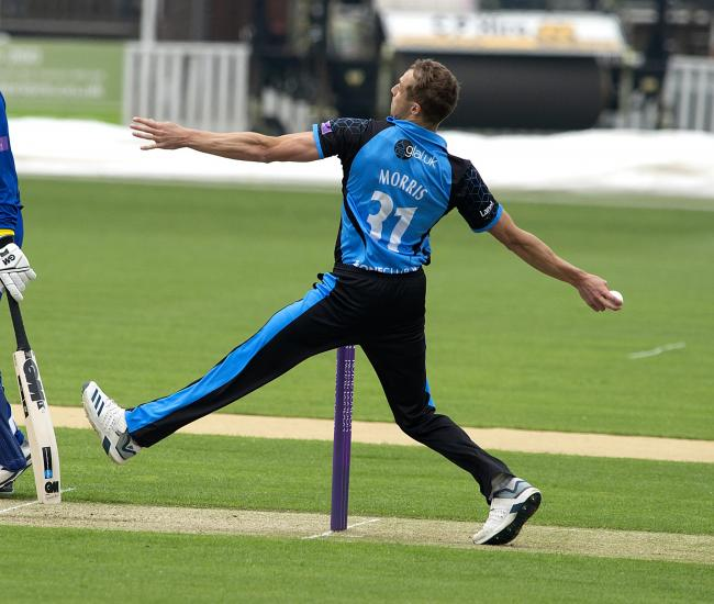 Charlie Morris bowls for Worcestershire. Picture: PAUL FRANCE/WRITE ANGLE MEDIA