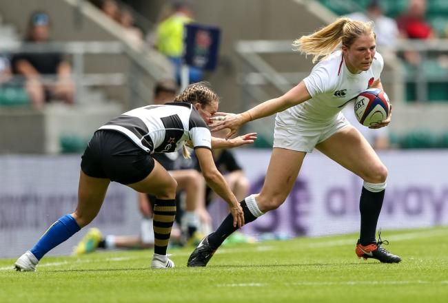 England's and Worcester's Lydia Thompson takes on Barbarians Women's Tova Derk at Twickenham. Picture: PAUL HARDING/PA WIRE