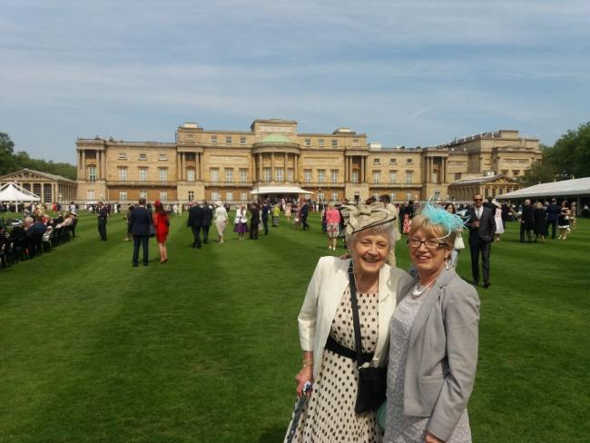 L-r - hospice volunteers Jean Wesson and Julie Turvey attended a garden party at Buckingham Palace on behalf of the Stourbridge charity