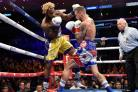 Jarrett Hurd defeats Jason Welborn during the WBA, IBF, IBO Super Welterweight Championship bout. Picture: Lionel Hahn/PA Wire.