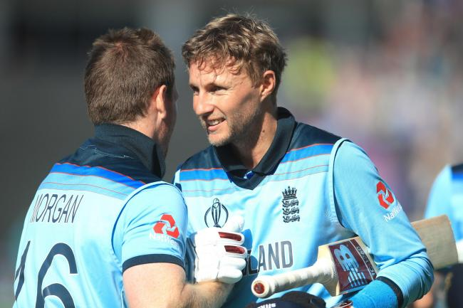 Joe Root (right) celebrates with injured captain Eoin Morgan.