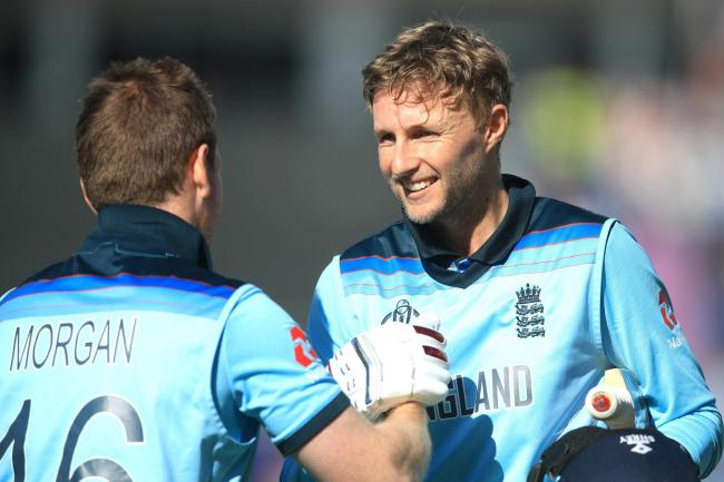 Centurion Joe Root (right) and injured captain Eoin Morgan (left).